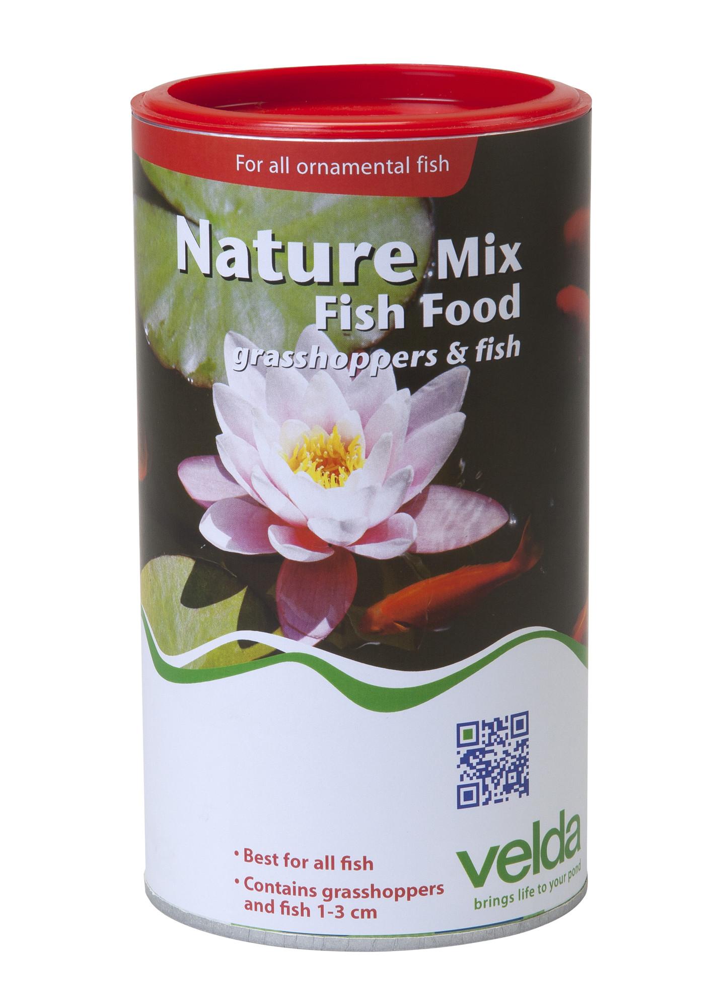 Velda Nature Mix Fish Food Met Visjes En Sprinkhanen 1250 Ml / 200 Gram