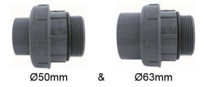 """3/3 Koppeling 50 & 63 X 2"""" Buitendraad En O-ring (set Van 2)"""