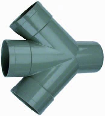PVC Dubbel T-Stuk 45° 3 X Mof/ 1 X Spie 110mm Wavin