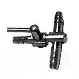 Luchtverdeler Voor 4mm 2 Uitgangen Met Kraan Messing