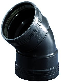 Bocht 45° 2 X Manchet Zwart 50mm Wavin