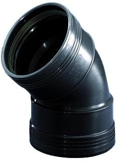 Bocht 45° 2 X Manchet Zwart 75mm Wavin
