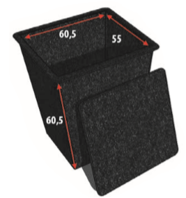 Polyester Pompput Met Deksel 60 CM